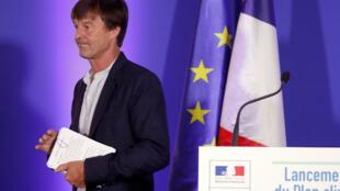 Le ministre français de la Transition écologique et solidaire, Nicolas Hulot, présente sur «plan climatique» sur cinq ans, le 6 juillet 2017 à Paris..
