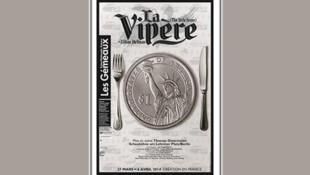 L'affiche de la pièce de théâtre <i> La Vipère, </i> de Lilian Hellman, au théâtre des Gémeaux à Sceaux (France)