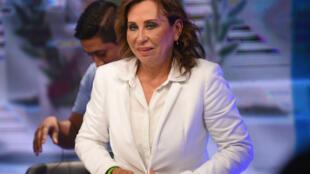 La candidate du parti social-démocrate UNE, Sandra Torres, arrive en tête (24%) du premier tour de la présidentielle guatemaltèque le 17 juin 2019.