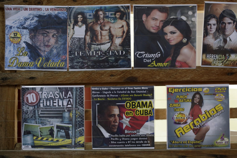 Dĩa DVD về chuyến thăm Cuba của tổng thống Mỹ Obama được bày bán tại La Habana; 15/04/2016.