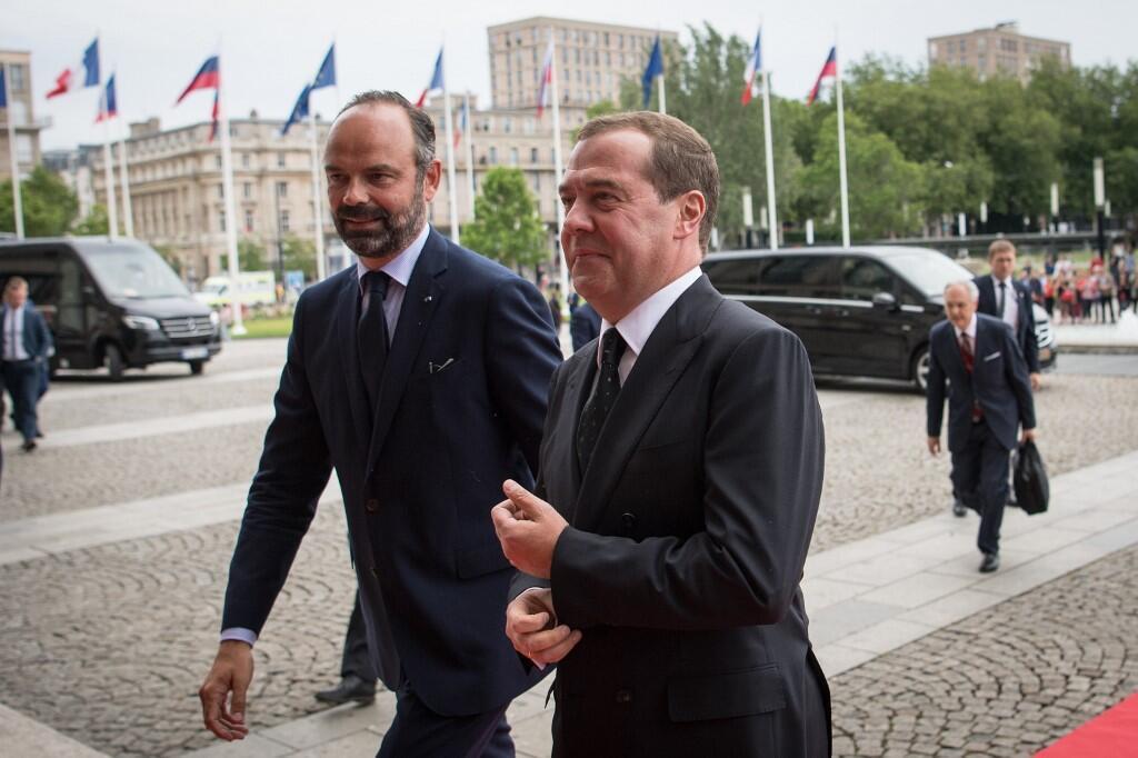 Премьер-министры Франции и России Эдуар Филипп и Дмитрий Медведев в Гавре 24 июня 2019