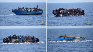 Imagens das câmeras de segurança da guarda costeira italiana mostram o momento exato em que o bote com refugiados vira.