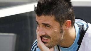 David Villa sanye da kayan Horo na kasar Spain a gasar cin kofin zakarun Nahiyoyin Duniya
