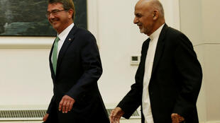 US Defense Secretary Ashton Carter arrives with Afghanistan's President Ashraf Ghani for a news conference in Kabul, Afghanistan on 12 July, 2016.