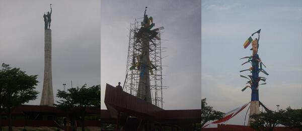 Réalisation du drapé sur la place de l'Etoile rouge à Cotonou