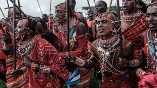Les guerriers maasaïs à Kimana, près de la frontière kenyane avec la Tanzanie, le 15 décembre 2018. (Photo d'illustration)