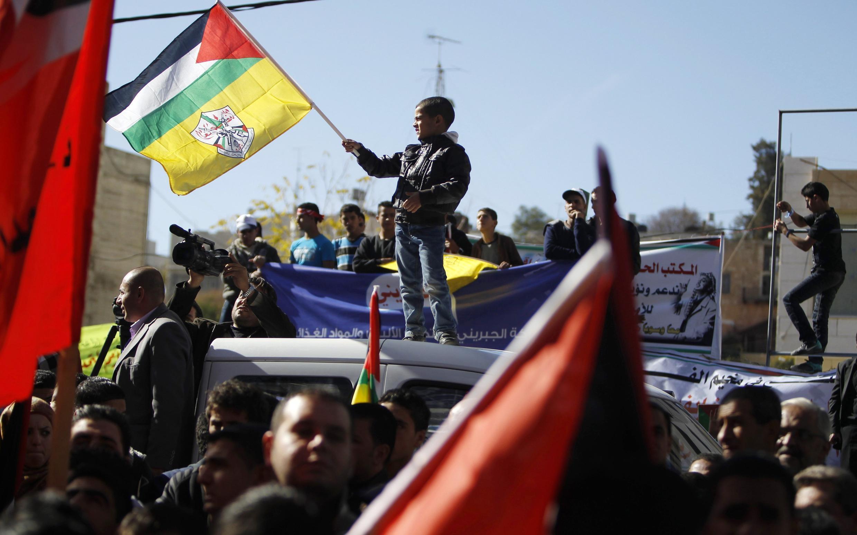 Người Palestine biểu tình ủng hộ nghị quyết về quy chế Nhà nước quan sát viên cho Palestine ngày 29/11/2012.