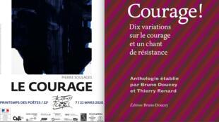 """Affiche de l'édition 2020 du Printemps des poètes et couverture de l'anthologie """"Courage!"""" signée par les poètes Bruno Doucey et Thierry Renard."""