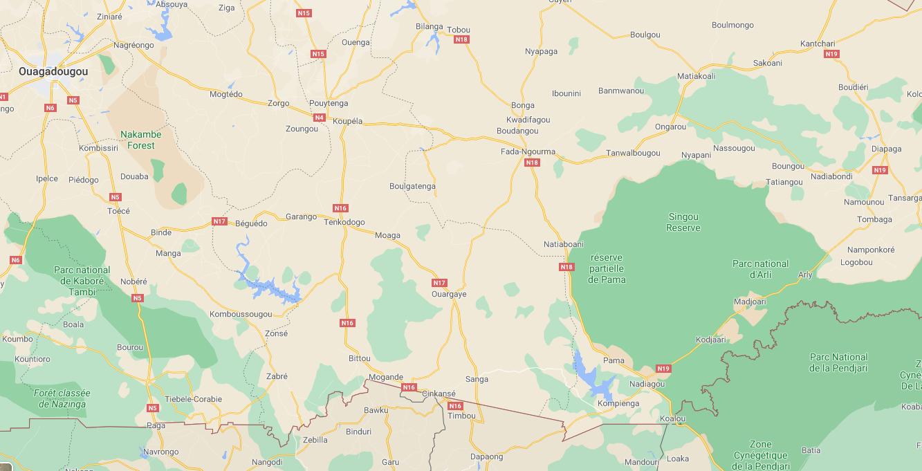 L'embuscade a eu lieu sur la route entre Fada Ngourma et Pama, dans l'est du Burkina Faso.