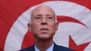 Le candidat à la présidentielle en Tunisie, Kaïs Saïed, arrivé en tête au premier tour, ici à Tunis, le 17 septembre 2019.