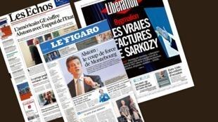 Capa dos jornais franceses Les Echos, Le Figaro e Libération desta segunda-feira, 23.