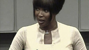 Naomi Campbell testifies at the trial of former Liberian President Charles Taylor at the UN Special Court for Sierra Leone.