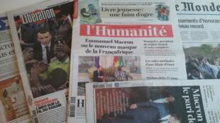 Primeiras páginas dos jornais franceses de 29 de novembro de 2017