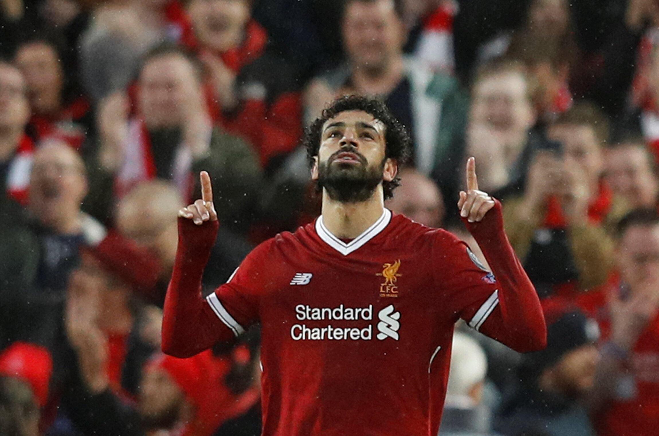 Mohamed Salah a marqué deux buts avec Liverpool contre la Roma, son ancien club, le 24 avril 2018.