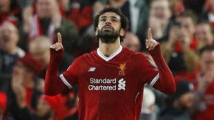 Dan wasan kungiyar Liverpool Mohammed Salah yayin murnar zura kwallo a ragar kungiyar Roma, yayin zagayen farko na gasar zakarun nahiyar turai, wasan kusa da na karshe.