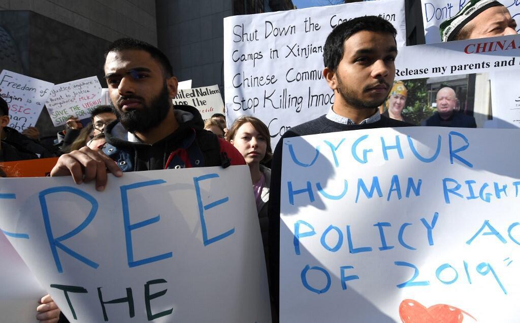Manifestation  à New York, le 5 février 2019, pour encourager le département d'État à lutter pour la liberté de la population ouïghoure à majorité musulmane injustement emprisonnée dans des camps de concentration chinois.