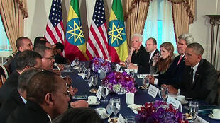 US President Obama and Ethiopian Prime Minister Hailermariam Desalegn during meeting in New York, 25 September 2014