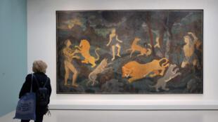 André Derain: «La Chasse [L'Âge d'or (Paradis terrestre)]», 1938-1944. Huile sur papier marouflé sur toile. Vue de l'exposition au Centre Pompidou.