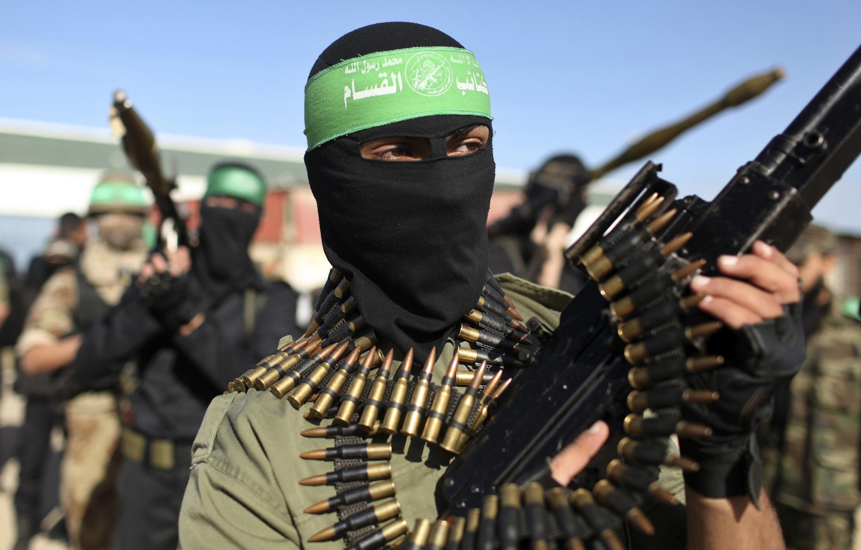 Sojojin rundunar Ezzedine al-Qassam na kungiyar Hamas a zirin Gaza.