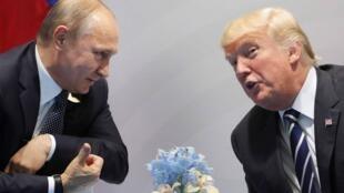 俄罗斯总统普京和美国总统特朗普2017年7月在德国汉堡20国集团峰会上会面