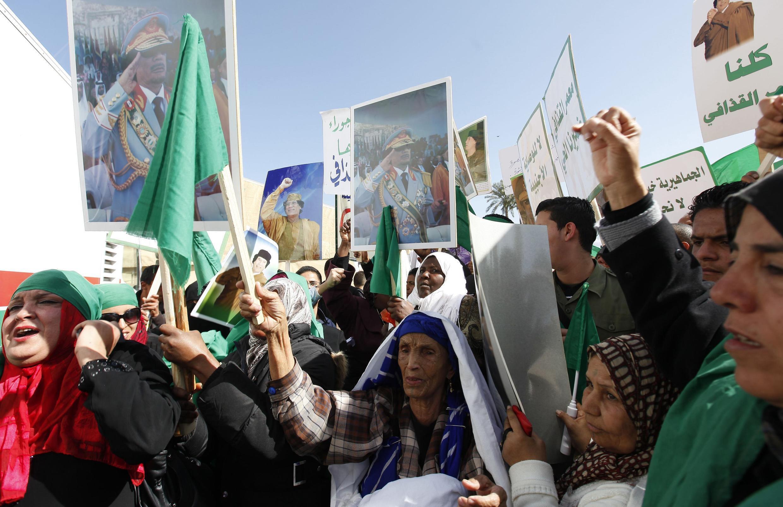 Partidarios del gobierno también manifestaron su apoyo a Muamar Kadafi.