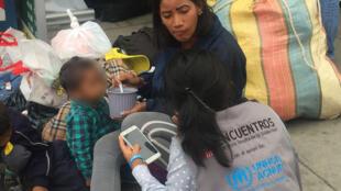 Migrants vénézuéliens à la frontière entre l'Equateur et le Pérou, le 24 août 2018.