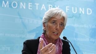 Christine Lagarde dá coletiva de imprensa na sede do FMI, em Washington.
