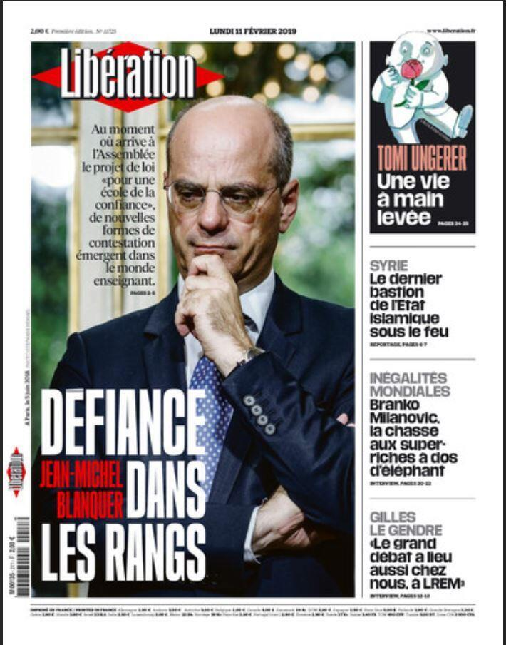 Проект реформы министра образования Жан-Мишеля Бланке на первой полосе Libération.