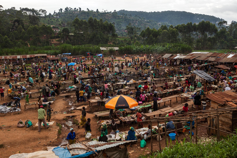 Vue générale du marché de Butembo, en novembre 2016 dans la région du Nord-Kivu.