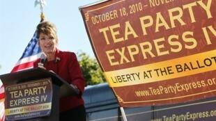 La politicienne conservatrice américaine Sarah Palin, lors d'un discours pour le lancement de «Tea Party Express» à Reno, le 18 octobre 2010.
