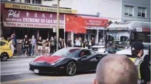 溫哥華街頭中國留學生開豪車掛國旗遊行