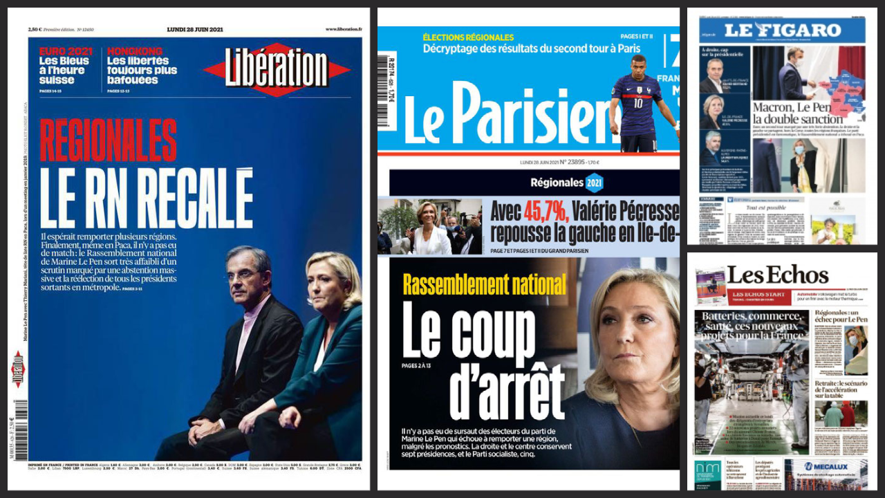 2021-06-28 france french press marine le pen far-right regional elections