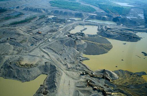 Vue aérienne d'une mine d'or à ciel ouvert dans l'est de Iakoutsk, en Sibérie.