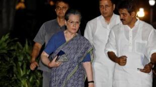Sonia Gandh à son arrivée samedi 10 août 2019 au comité exécutif du parti du Congrès.