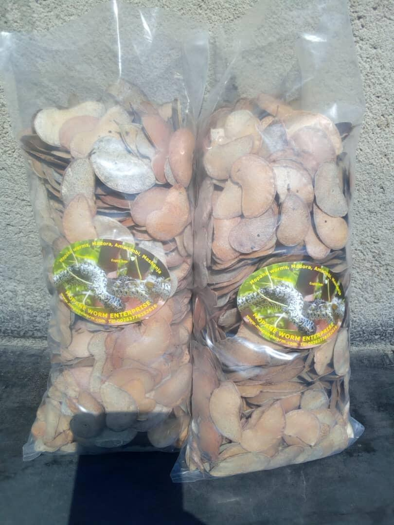 Kidney-shaped seeds of the mopane tree for sale by Zimbabwe company, Mopane Worms Enterprises