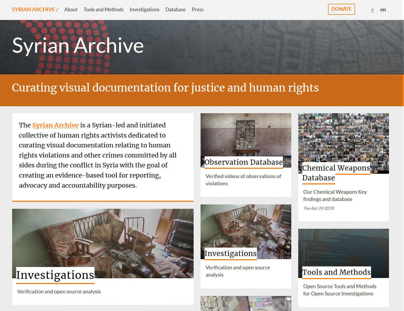 La page d'accueil de Syrian Archive