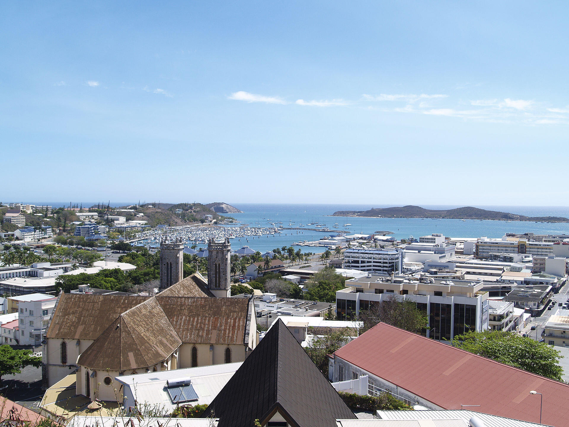 City centre and Nouméa Cathedral in New Caledonia