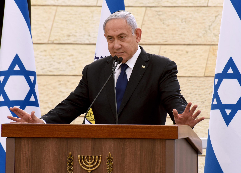 El primer ministro israelí Benjamin Netanyahu habla en una ceremonia celebrada en Jerusalén el 13 de abril de 2021
