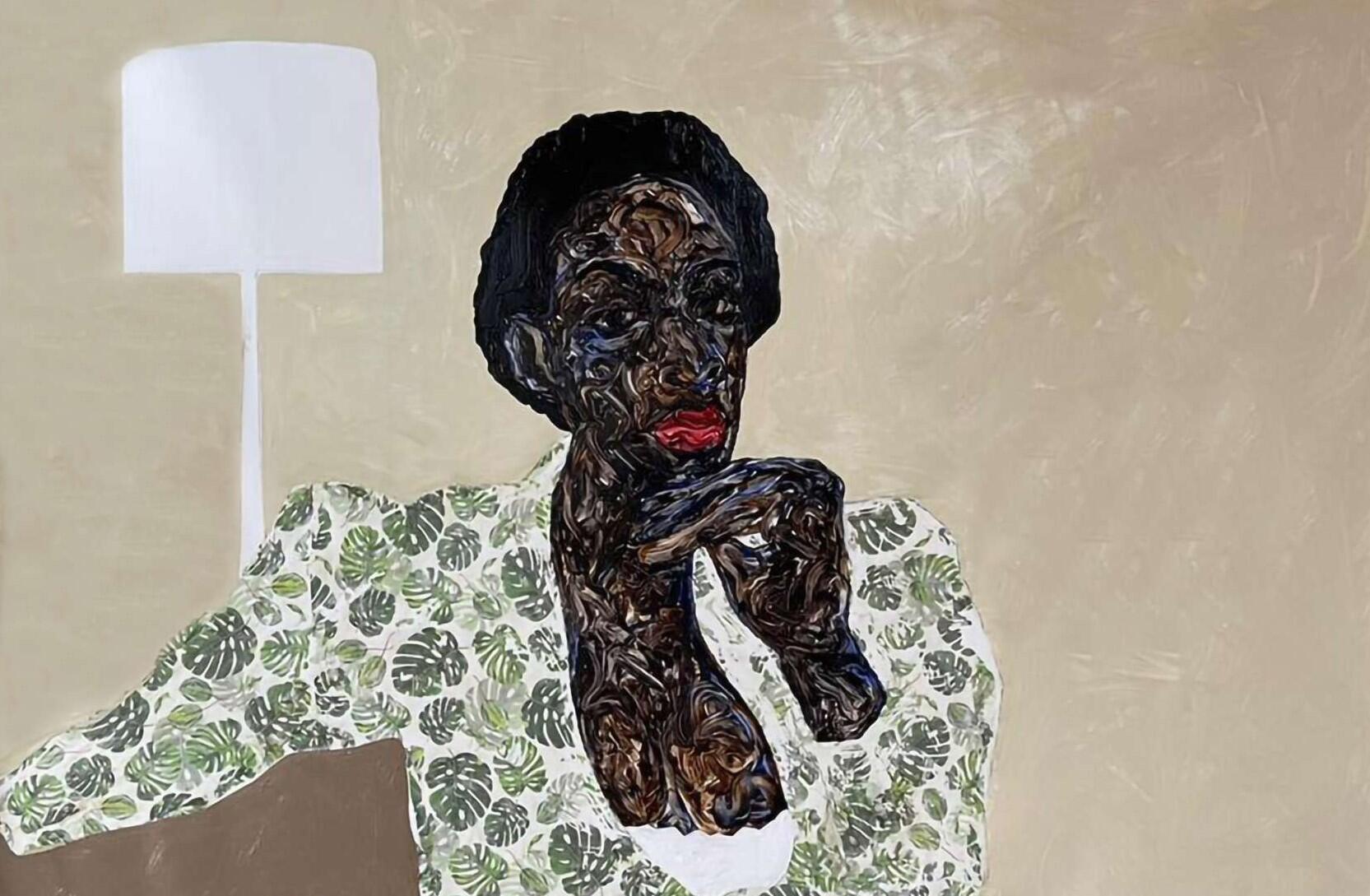 """Amoako Boafo : """"Green Clutch"""" (detail), 2021, Phototransfer and oil on canvas. 210 x 180 cm. Oeuvre présentée (et déjà vendue) par Mariane Ibrahim Gallery."""