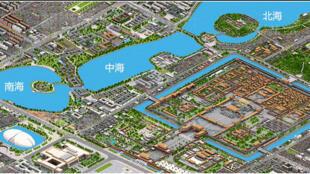 图为网传北京中南海地图