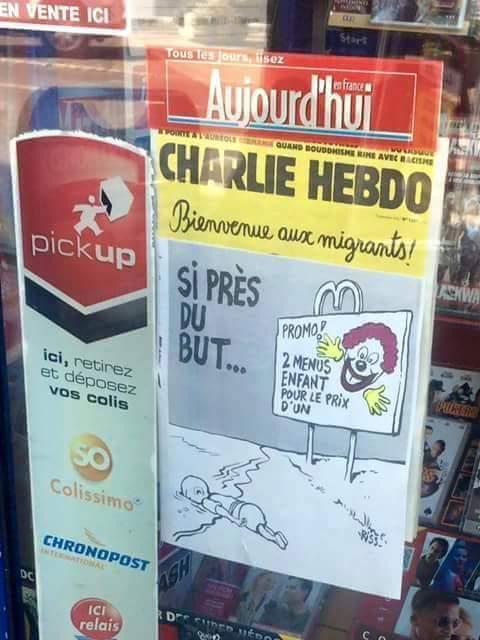 Вызвавшая полемику обложка Charlie Hebdo: «Так близко к цели... Спецпредложение: два детских меню по цене одного!»