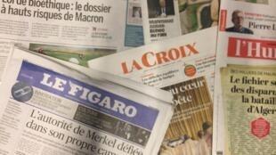 Primeiras páginas dos jornais franceses 27-09-2018