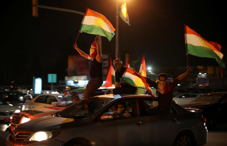 Partisans du «oui» à l'indépendance du Kurdistan dans les rues d'Erbil, en Irak, le 25 septembre 2017.