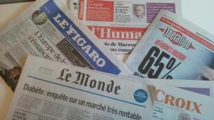 Primeiras páginas dos jornais franceses de 14 de novembro de 2017