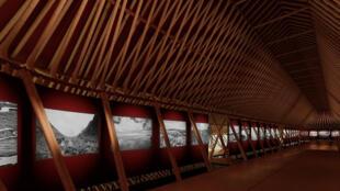 Pavilion 1, 3D simulation de l'exposition de Matthieu Ricard dans l'avenue centrale.