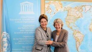 A presidente brasileira Dilma Rousseff se encontrou neste sábado com a diretora-geral da Unesco, Irina Bokova, na sede da entidade em Paris.