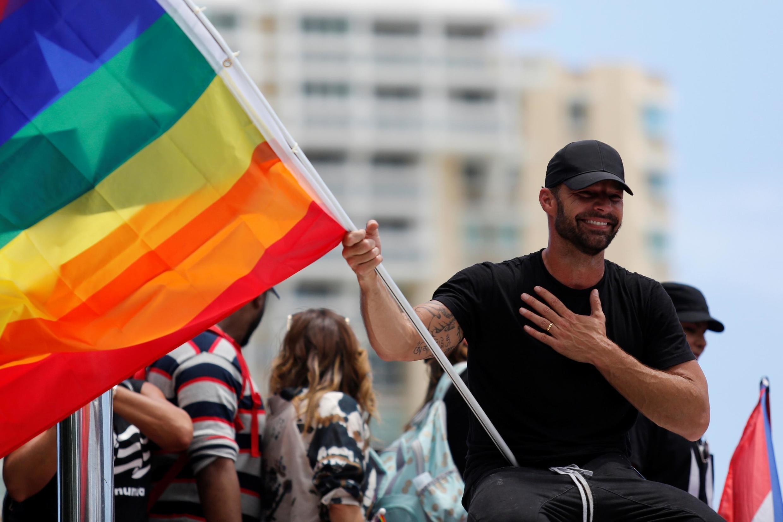 Ricky Martin durante um protesto pedindo a renúncia do governador Ricardo Rossello em San Juan, Porto Rico, em 22 de julho de 2019.