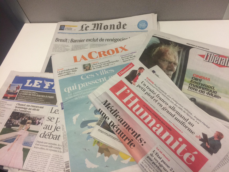 Primeiras páginas dos jornais franceses de 23 de janeiro de 2019