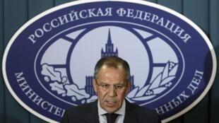 Ngoại trưởng Nga Sergueï Lavrov trong một cuộc họp báo tại Matxcơva.