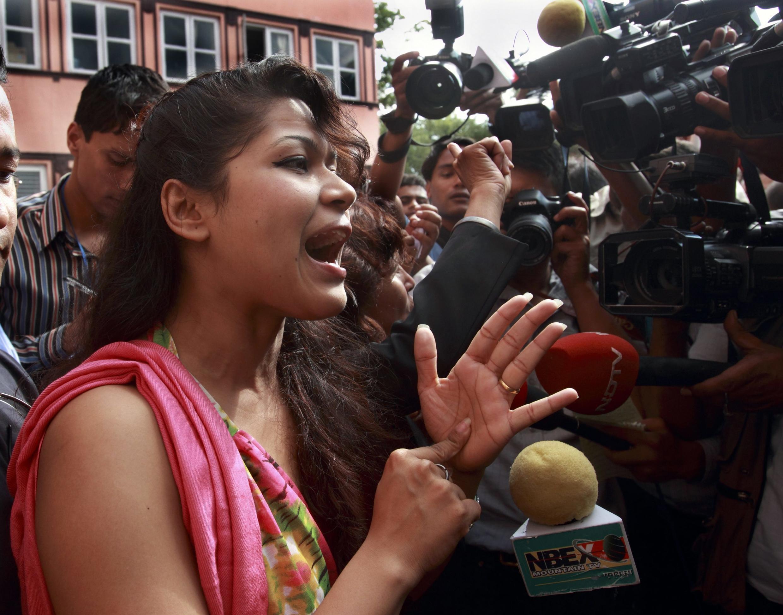 Nihita Biswas speaks to the media after the Supreme Court rejected Sobhraj's appeal